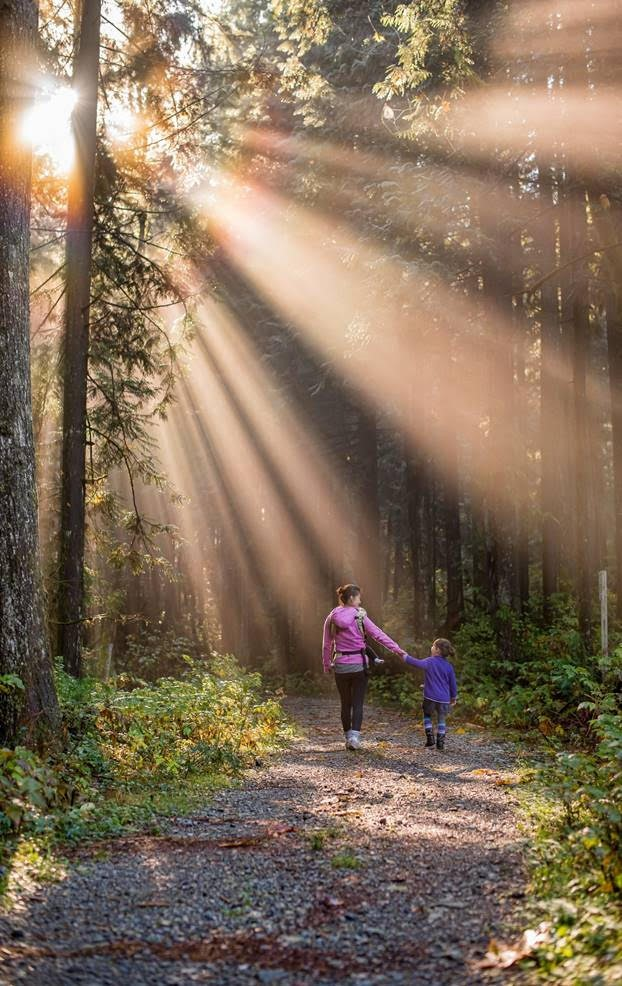 mother and child walk in the woods