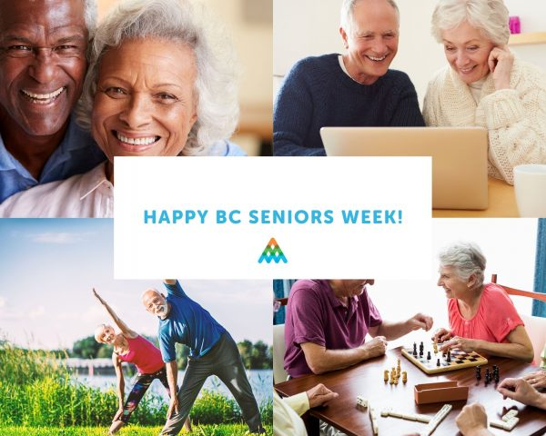"""""""happy bc seniors' week"""" with four pictures of seniors smiling, doing yoga, on the computer, playing chess"""